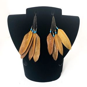 Boho Brown Turquoise Feather Dangle Earrings 🔥